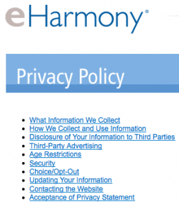 online dating privacy policy