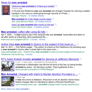Google search results arrest