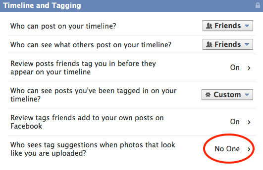 How to control the 7 most critical facebook privacy settings tag suggestions are just facebooks facial recognition system ccuart Image collections