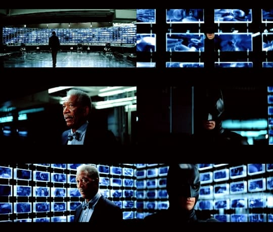 Bruce Wayne's mass surveillance system in The Dark Knight.