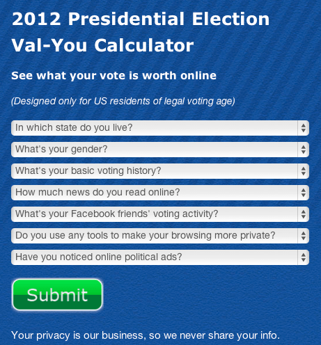 2012 presidential election vote value calculator