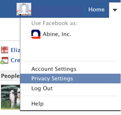 Facebook privacy settings menu