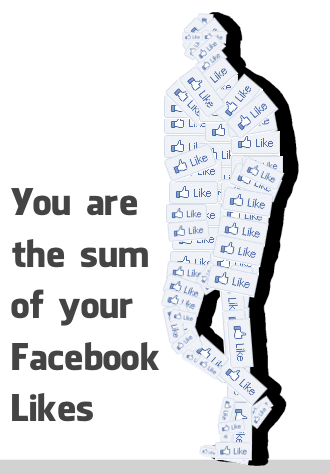 person made up of Facebook like buttons