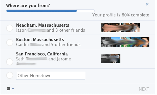 Facebook hometown pestering