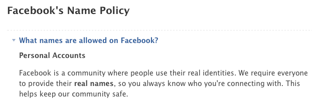 Facebook's real name policy